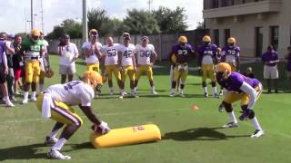 LSU DB Devin Voorhies stops Leonard Fournette to highlight goal line drill   Video
