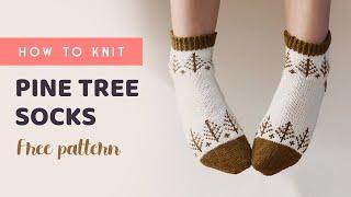 대바늘 양말 뜨기 파인 트리 삭스 Pine Tree Knitting Socks (English pattern)