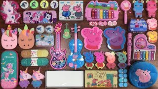 Peppa Pig & Unicorn Slime   Mixing Glitter and Floam into Glossy Slime   Satisfying Slime Videos