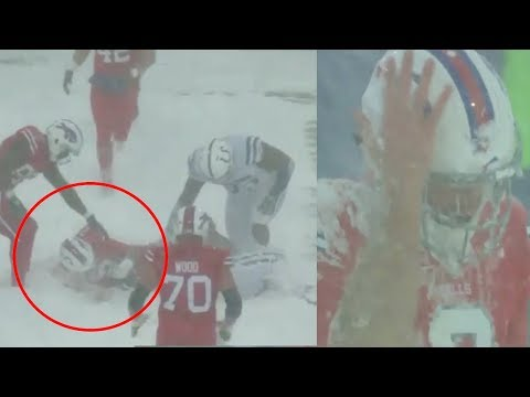 Nathan Peterman Takes a Big Shot to The Head During Blizzard