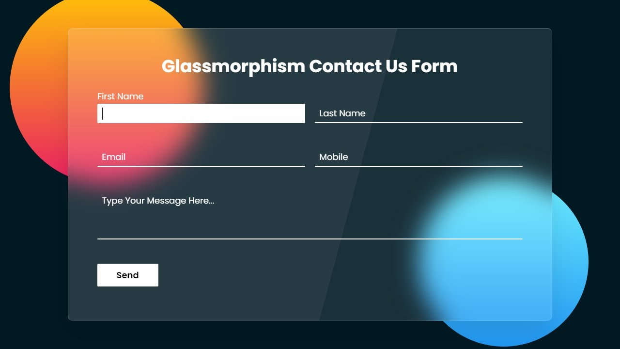 Responsive Contact Us Page Design using HTML CSS   CSS Glassmorphism