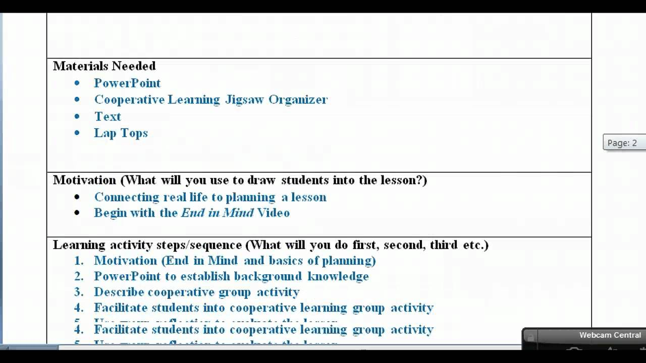 Lesson plan with examples video youtube for Cooperative learning lesson plan template