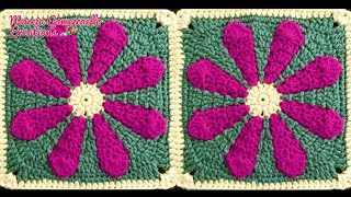 TEJIDOS A CROCHET: Cuadro con Flor/ HOW TO CROCHET: Square with Flower