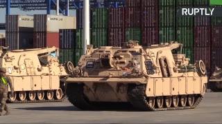 Прибытие американской военной техники в Гданьск