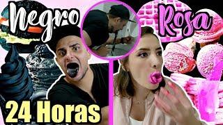 24 HORAS COMIENDO SÓLO COMIDA ROSA Y NEGRA *Termino INTOXICADO* / #AmorEterno