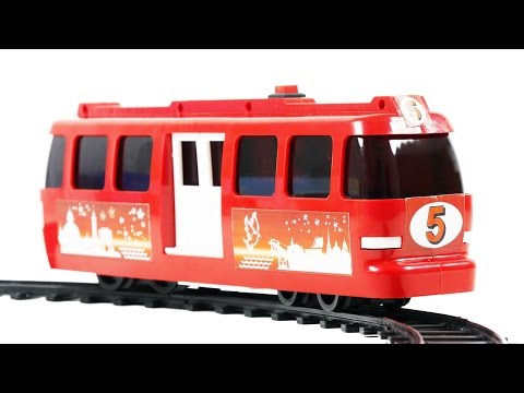 Tram №5 Red Model with Railway Toys VIDEO FOR CHILDREN