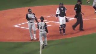 客席から見た 阪神の原口が中日ジョーダンの投球で デッドボールうけて えらく不満になったとこ