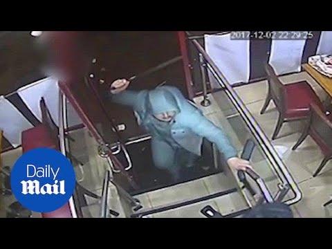 Terrifying moment two machete-wielding teenagers attack man