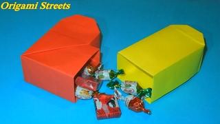 Как сделать коробку из бумаги. Оригами коробка сердце