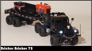 rc lego technic winch truck t14 kraz 255b 6x6 with off road oilfield flatbed trailer with sbrick