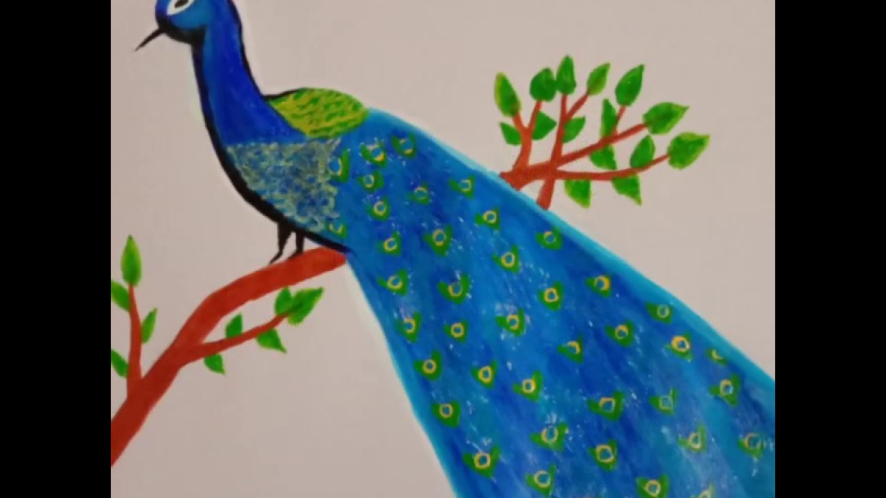 Peacock painting on paper|Acrylic painting