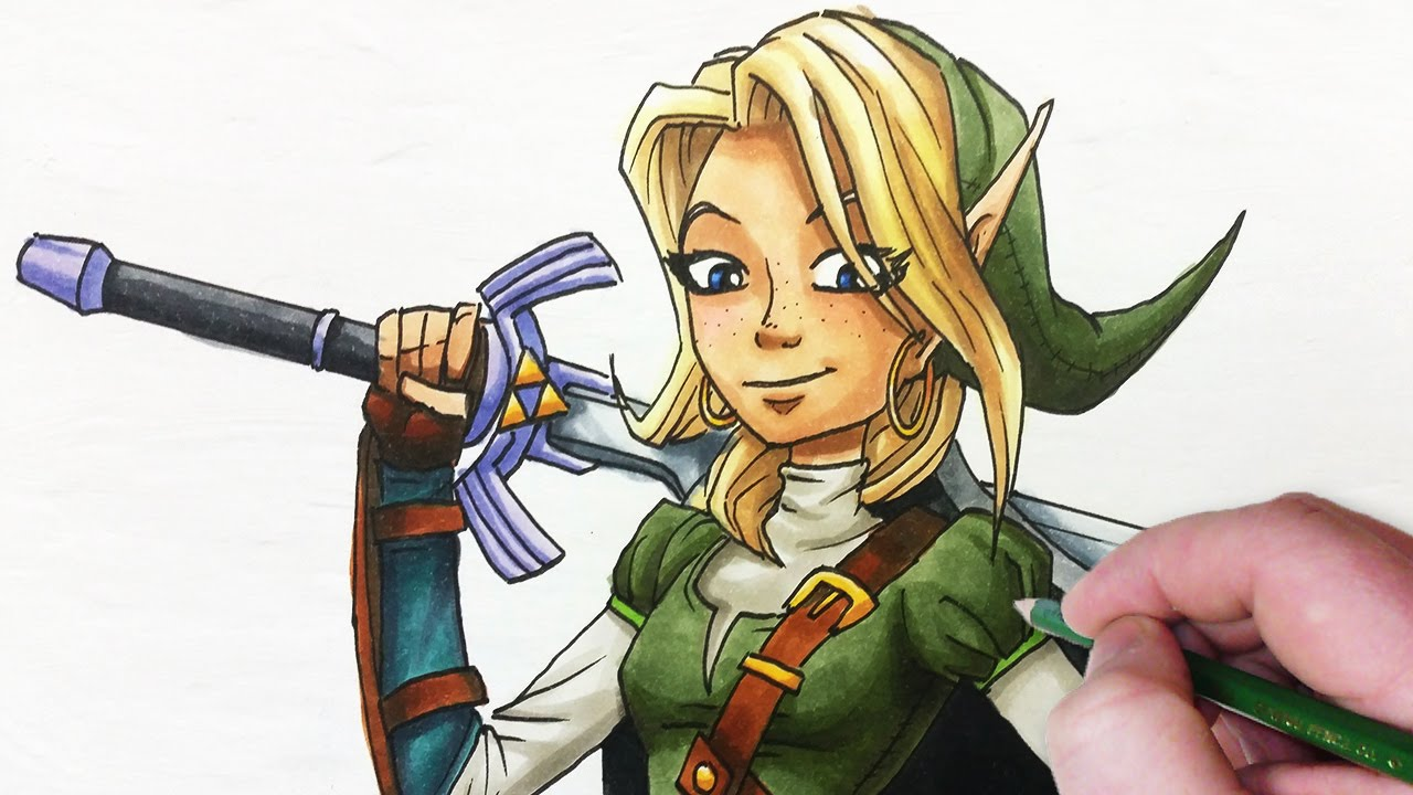 Character Design Draw With Jazza : Character re design female link from zelda youtube