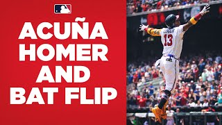 Ronald Acuña Jr. homers and celebrates with EPIC bat flip!
