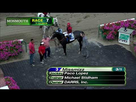 video thumbnail for MONMOUTH PARK 7-14-19 RACE 7 – THE BLUE SPARKLER STAKES