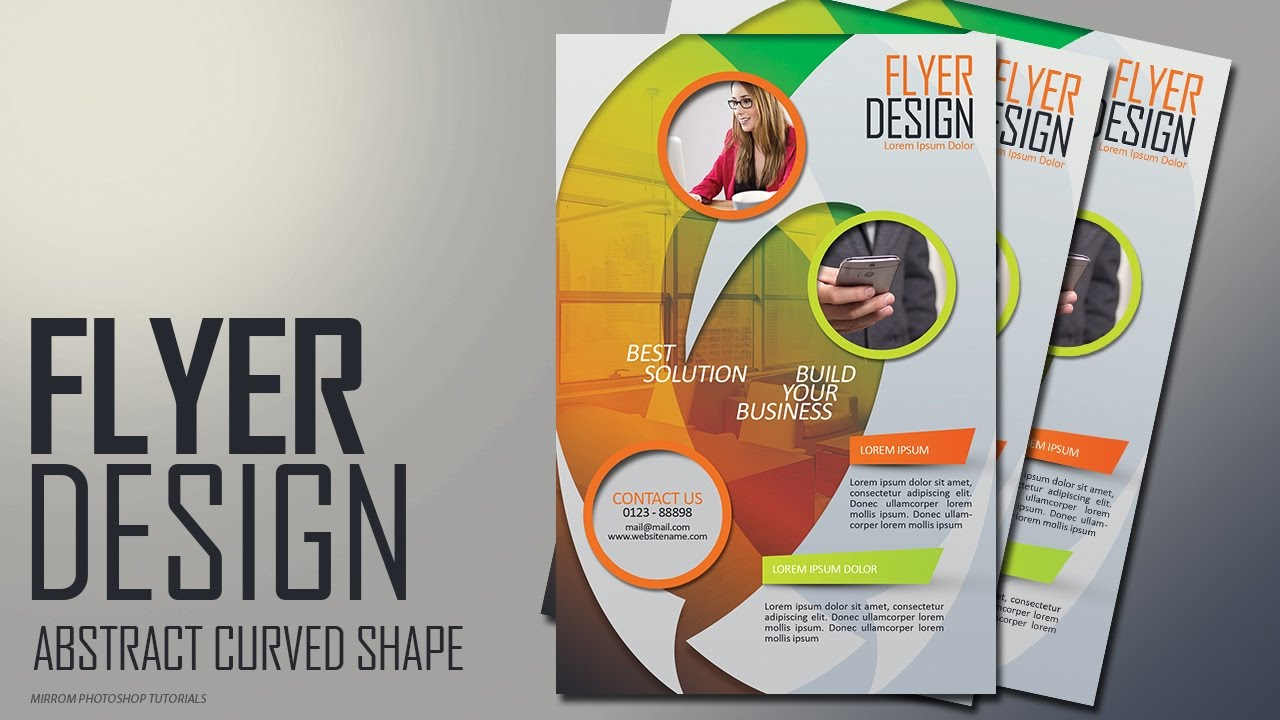 photoshop tutorial abstract curved shape flyer design youtube