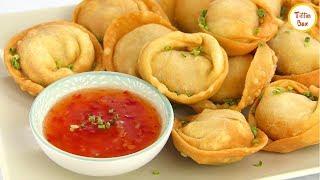Fried Chicken Wonton/ Momo recipe for kids by Tiffin Box | Chinese Fried Wontons/ Fried Dim Sum