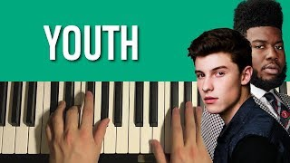 """HOW TO PLAY - Shawn Mendes - """"Youth"""" ft. Khalid (Piano Tutorial Lesson)"""