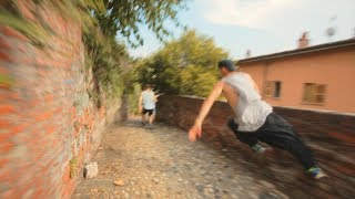 Bike vs Parkour Chase in Ivrea Italy