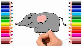 How to draw an elephant step by step colouring page for kids.