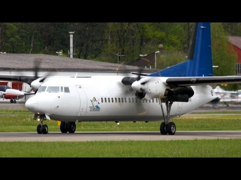 Fokker 50 Denim Air Landing & Take-Off at Bern Airport