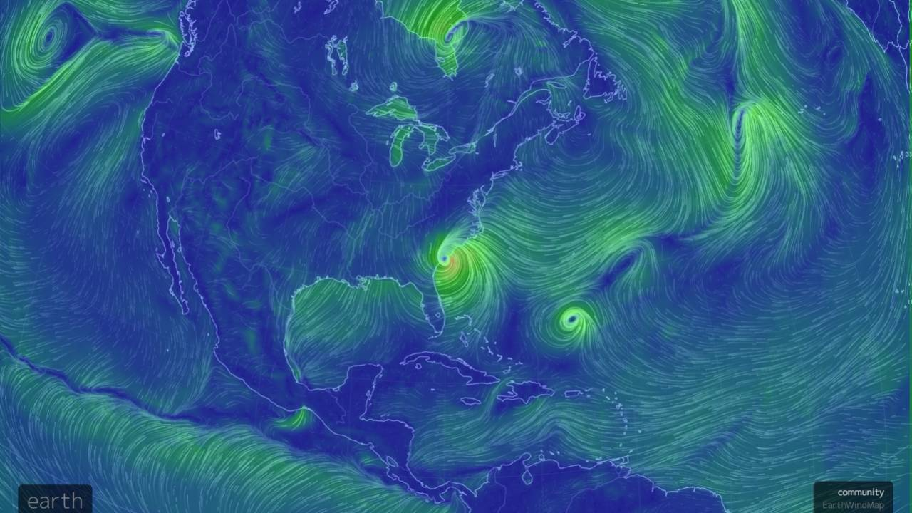 Earth Nullschool Net Earth Wind Map 10 8 2016 9am Edt Youtube