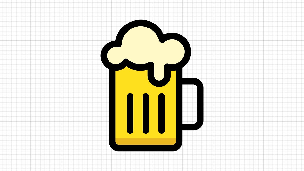 One Line Art Beer : How to draw beer mug vector in app graphic for ipad