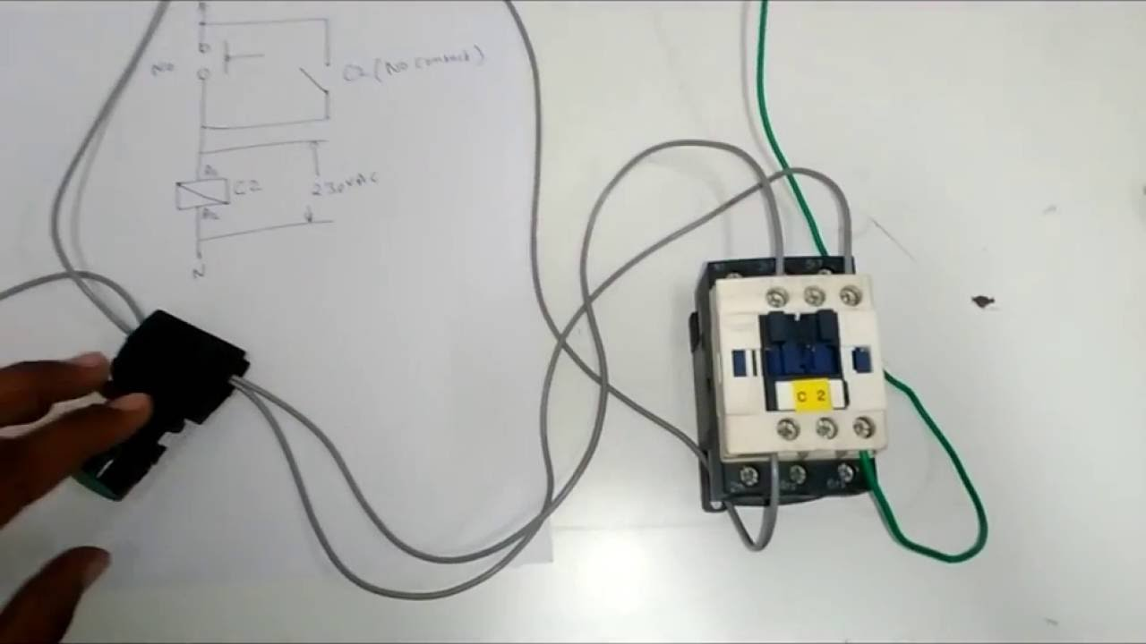 dol direct on line starter of three phase motor using a contactor and no nc push buttons youtube [ 1280 x 720 Pixel ]