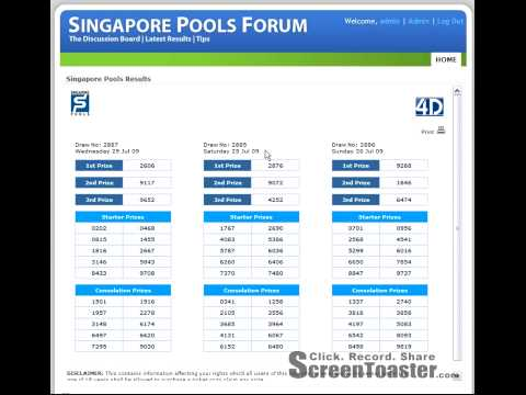 Singapore Pools Latest Results