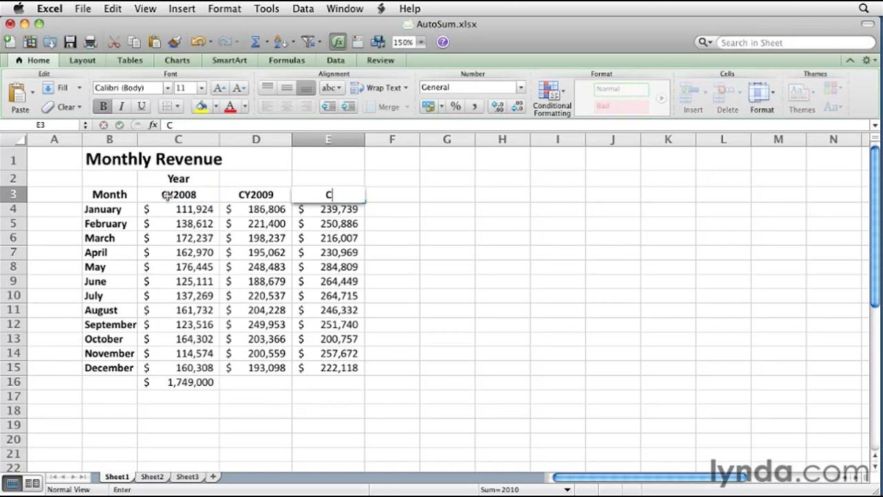 Excel how to use autosum formulas lynda tutorial also youtube rh