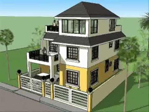 House plan designs 3 storey w roofdeck youtube for Three storey house designs in the philippines