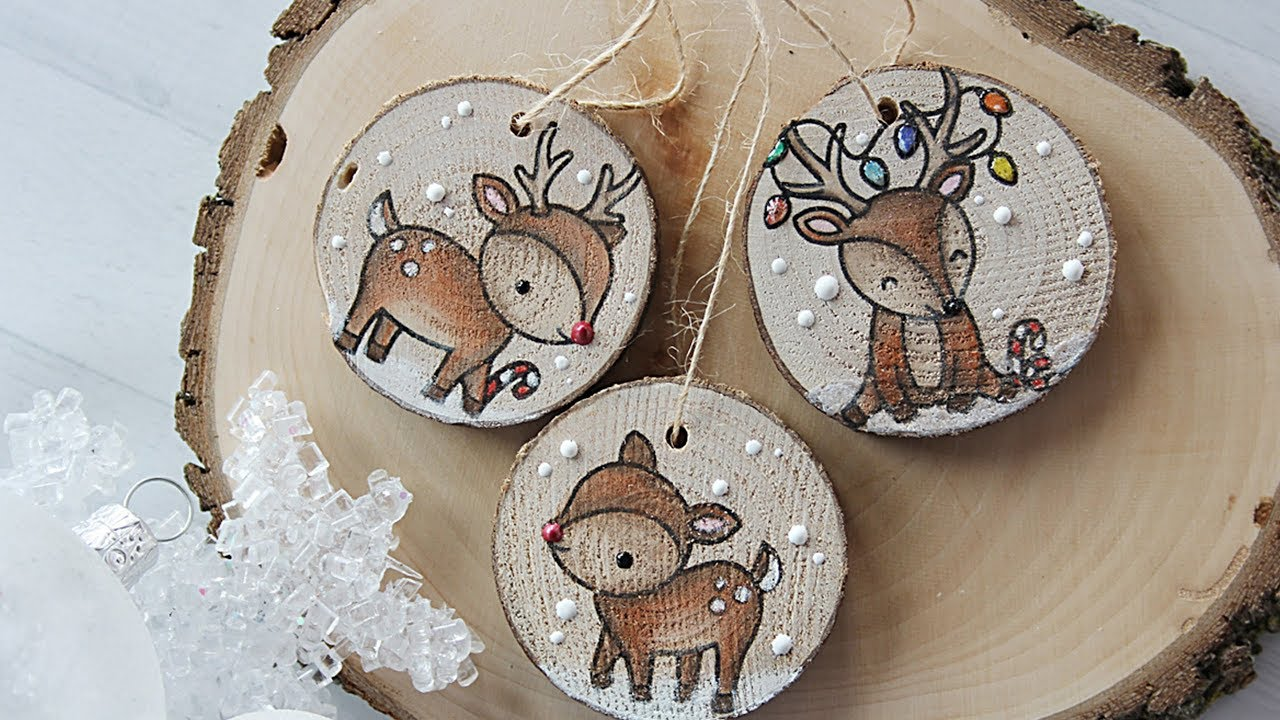 how to make wooden christmas ornaments and tags - Wooden Deer Christmas Decorations