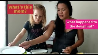 3y/o Norwegian-Filipina Kid Making Doughnut w/ Her Mom