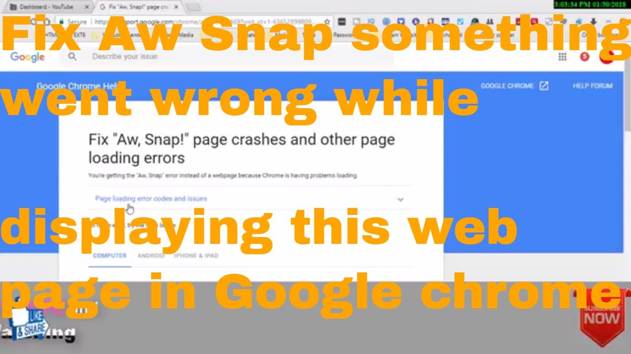 Fix Aw Snap something went wrong while displaying this web page in