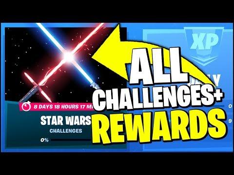 *ALL* Fortnite STAR WARS Event CHALLENGES & FREE REWARDS (LIGTH SABER & LOCATIONS)