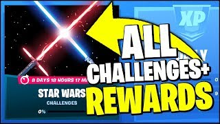 *ALL* Fortnite STAR WARS Event CHALLENGES & FREE REWARDS (LIGTH SABER & LOCATIONS)