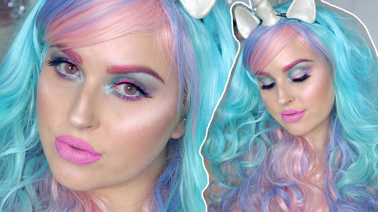 Pretty Halloween Makeup Tutorial ♡ Colorful Unicorn Inspired ...