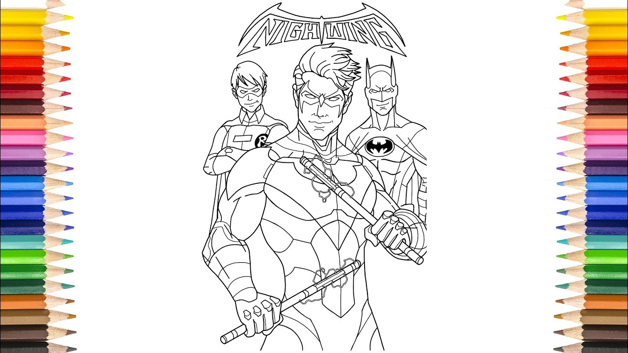 NIGHTWING Coloring Pages  Batman Family Coloring Pages