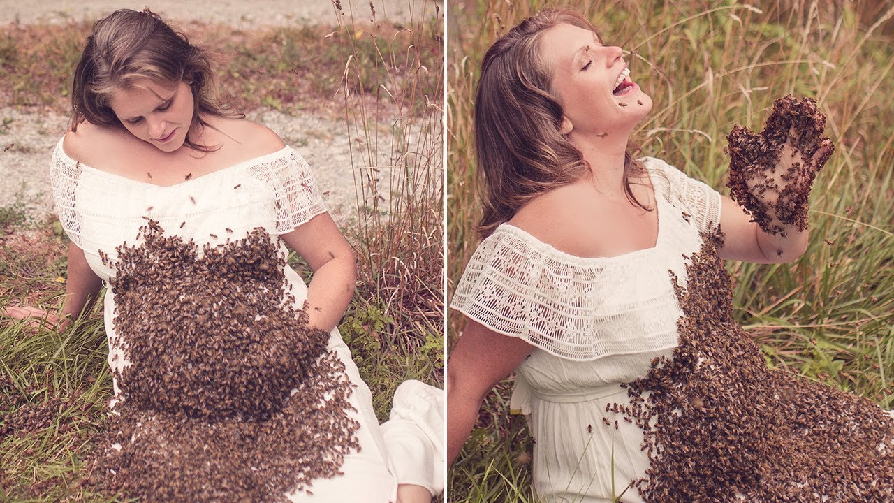 Woman takes maternity photo shoot with 20000 bees all over her baby bump