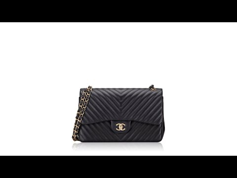 Chanel Lambskin Chevron Quilted Jumbo Square Flap Black