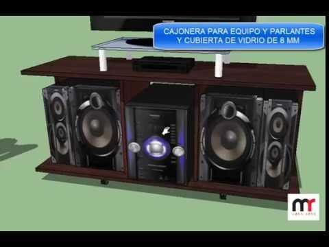 Mesa para lcd y minicomponente youtube for Muebles para televisor y equipo de sonido