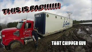 FREIGHTLINER STUCK!!!! BAD!!! WITH 53FT CHIP VAN!!!