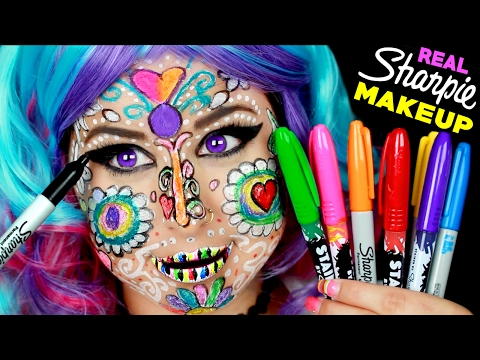 Full Face Using ONLY Sharpie Markers! | I Doodles On Face With Permanent Sharpies! *CAUTION*