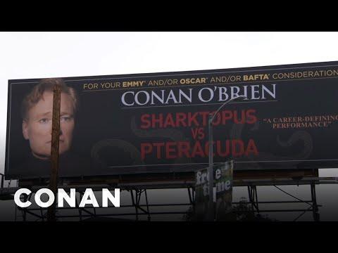 Conan Shows Off His Sharktopus Billboard