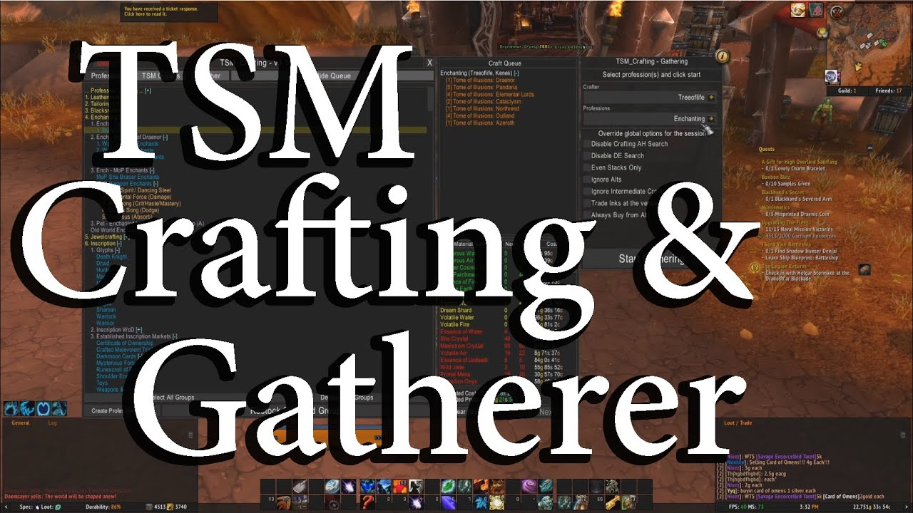 TSM Tutorial: Crafting Queues and Gatherer