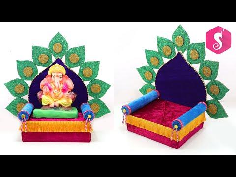 Ganpati Decorations Ideas at Home   Ganesh Singhasan Making   Eco Friendly Makhar