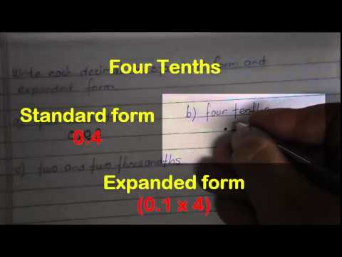 Writing Decimals In Standard And Expanded Form Youtube