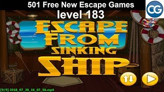 [walkthrough] 501 Free New Escape Games Level 183   Escape From Sinking Ship   Complete Game