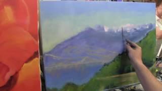 Горный пейзаж , как нарисовать гору, снег, альпийский луг, художник Сахаров