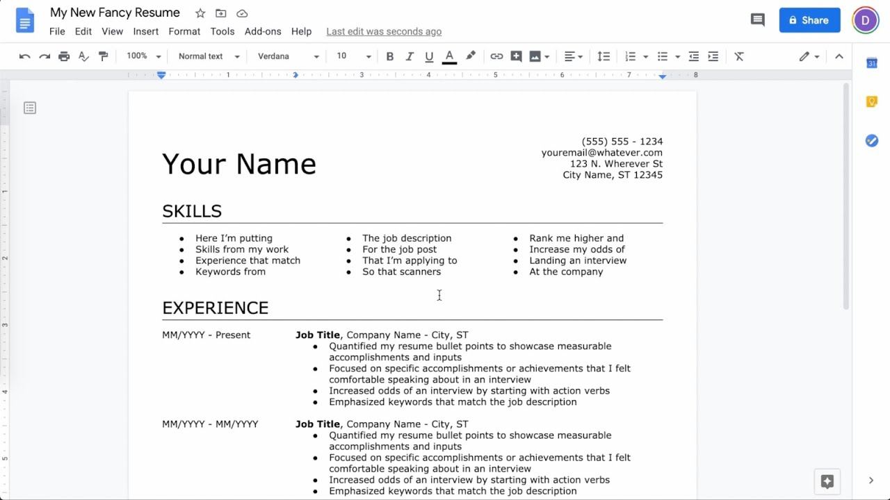 How To Make A Resume In Google Docs Latest Youtube