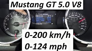 Ford Mustang GT 5.0 V8 0-200 km/h 0-124 mph 0-100 Acceleration TEST